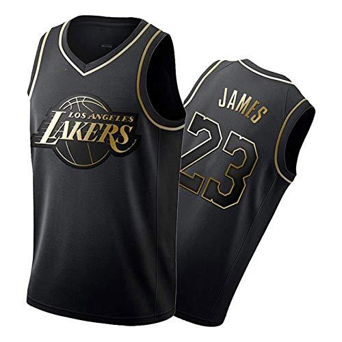 Camiseta de baloncesto para hombre, de LěBr, de edición limitada, de manga corta, de malla, de secado rápido, color negro, dorado, L