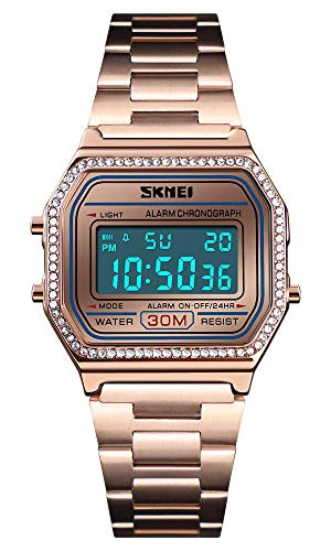 Classic Unisex Women's Men's Digital Multifunction Sports Watch Stainless Steel Band Square Waterproof Electronic Led Watch (Crystals Rose Gold)