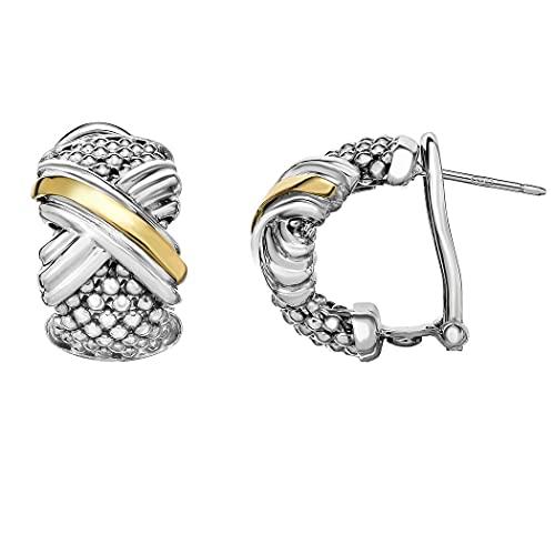 Pendientes de plata de ley 925, oro de 18 quilates y pulido palomitas de maíz con collar Omega cierre trasero joyería regalos para mujeres