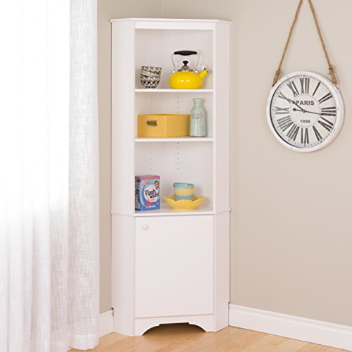 Prepac Elite Corner Storage Cabinet, Tall 1-Door, White