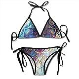 Traje de baño Bikini de inmersión Lotus Gradient Símbolos místicos diagonales Alquimia geométrica Trippy Motivo étnico con adornos Traje de baño multicolor