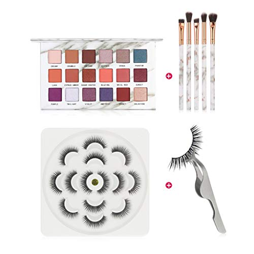 wyxhkj Plateau Ombre À Paupières Longue 3D Naturel Faux Cils Maquillage Pinceau Cils Assist Maquillage Kit pour la Fête (Kit de maquillage)