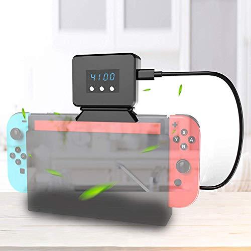 Gabriel Ventilador de enfriamiento para Nintendo Switch Dock Set Enfriador de visualización de Temperatura para estación de Acoplamiento Original NS, Alimentado por USB, Cable Integrado