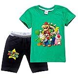 Jungen Super Mario Drucken T-Shirt & Kurze Hose Baumwoll-Kleidungsset Sportanzüge Mädchen Sommer Kurzarm Pyjama (Green, 5-6 Jahre)