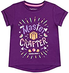 Minecraft Camiseta Estampada para Niñas Morada