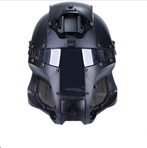 Middeleeuwse Iron Warrior Helm Pure Zwart Outdoor Protective Guard Retro Helm