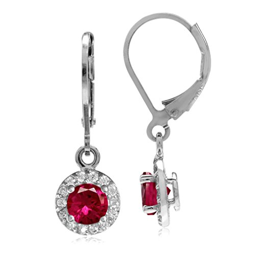Silvershake 5mm Simulated Red Ruby and White Cubic Zirconia Gold Plated 925 Sterling Silver Halo Leverback Dangle Earrings