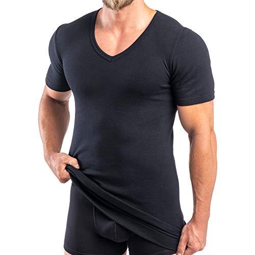 HERMKO 488710 2er Pack Extralanges Herren Kurzarm Shirt +6cm V-Neck mit Bund als Abschluss, Farbe:schwarz, Größe:D 5 = EU M