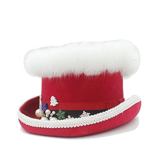CAIZHIXIANG Sombrero de Copa de Lana for Mujer de Steampunk con Sombrero Rojo y Verde for Mujer (Color : Rojo, Size : 61CM)
