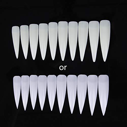 jackyee Pointeur de Salon Porcelaine Blanche 10Pc-Piece Long Sharp Sharp Faux Nail Art Conseils Salon Acrylique - Blanc Clair Naturel