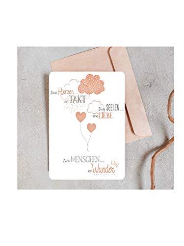 Hartjesboom kerstkaarten, set van 15 stuks, mat, met ronde hoeken, wit, twee harten en twee zielen, kaarten met liefde, ballon