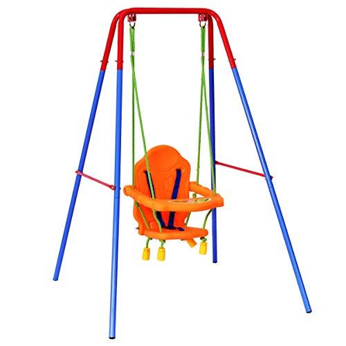 HONEY JOY Toddler Swing Seat High Back, A-Frame Outdoor Swing Chair, Metal Swing Set for Backyard