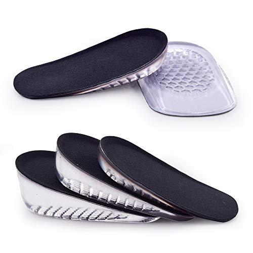 SAUDEfoot 1 paio di solette GEL per aumentare l'altezza del tallone, inserti invisibili per sollevare le scarpe, assorbimento degli urti, altezza 1 cm 2 cm 3 cm (S per le donne, altezza: 1 cm, nero)