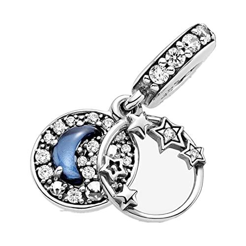 LIJIAN Amuleto De Tierra Y Luna Brillante De Plata Esterlina S925 Adecuado para Pulsera Y Pulsera Originales De 3 Mm Regalo De Cumpleaños