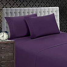Elegant Comfort Juego de sábanas de 1500 hilos, calidad egipcia, resistente a las arrugas y a la decoloración, 4 piezas, Queen, morado