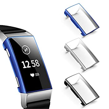 NANW Screen Protector Compatible with Fitbit Charge 4 / Charge 3 3 Pack Soft Slim Full-Around Protective Charge 3 Case Cover Bumper for Charge 4 / Charge 3 / Charge 3 SE Smartwatch