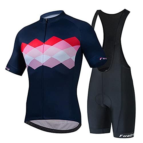 HXTSWGS Conjunto de Jersey de Ciclismo para Hombre, Pantalones Cortos de Ciclismo de Manga Corta, Traje de Ciclismo Acolchado, Ropa para Montar en Bicicleta, Ropa de Ciclismo-A_S