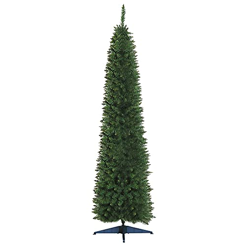 HOMCOM Albero di Natale Artificiale in PVC con 499 Rami e Base in Plastica, Design Alto e Stretto, Φ60x210cm, Verde