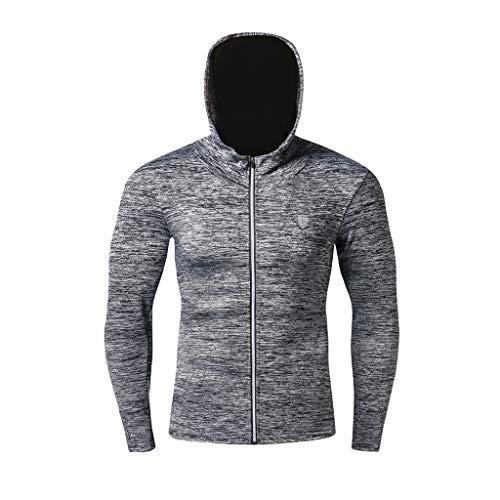Z-MENG Outdoor-Hosen für Herren Sport & Freizeit Coat für Herren Herren New Fitness Training Kleidung Outdoor Bergsteigen Sport Cap Coat Outdoor-Sportjacke für Herren (XXXL, Grau)