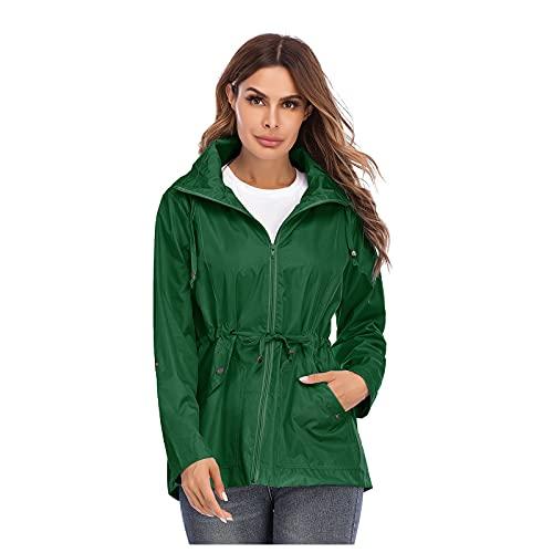 Chubasquero para mujer, impermeable, chaqueta funcional con capucha, para exterior, resistente al viento, impermeable, con cremallera, chaqueta softshell, ligera, plegable