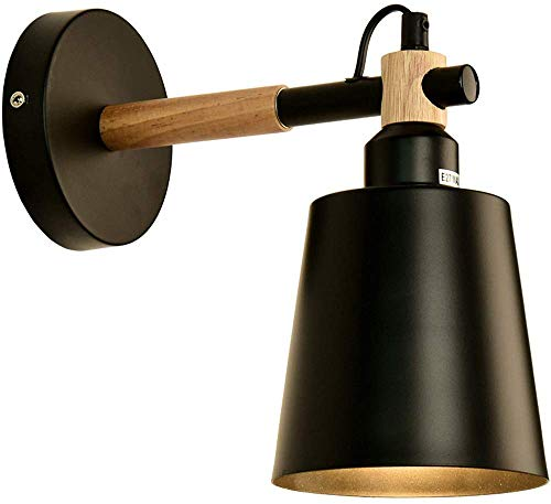 Wandlamp - Nordic houten trap gang creatieve eenvoudige moderne achtergrond muur restaurant schuine barrel lamp nacht slaapkamer wandlamp (kleur: zwart)