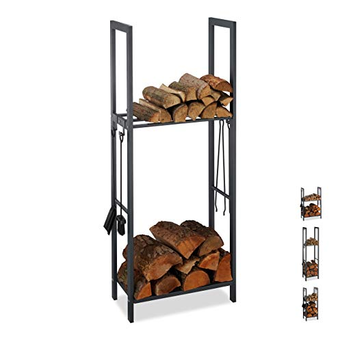 Relaxdays, anthrazit Kaminholzregal mit 2 Ablagen, aus Stahl, 4 Haken für Kaminbesteck, Brennholzregal HBT 150x60x30 cm, 150 x 60 x 30 cm