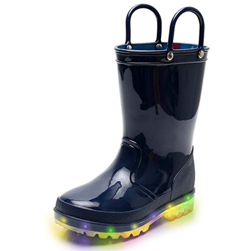 Blue Boys Light Up Rain Boots, Waterproof Lightweight Boots with Lights for Toddlers & Little Kids Age 1-9, with Easy-on Handles (Little Kid 2M, Blue)