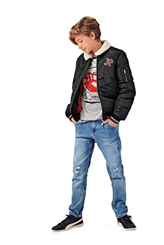 Boys Quilted Winter Warm Bomber Jacket with Removable Fleece Collar (Navy Blue Age 8 Years)