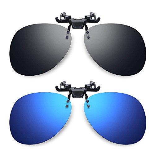 Besgoods 2Pcs Mirror Polarized Clip-on Sunglasses Flip up Glasses Sports, Blue Black