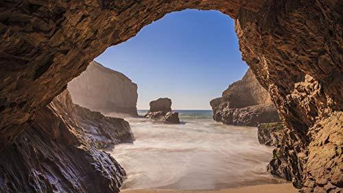 genmaimeima 1000 Pezzi Puzzle di Carta in Legno per Adulti Bambini Educativi -Spiaggia Grotta Ocean Rock- Assemblaggio in Legno Decorazione per Il Gioco del Giocattolo Domestico