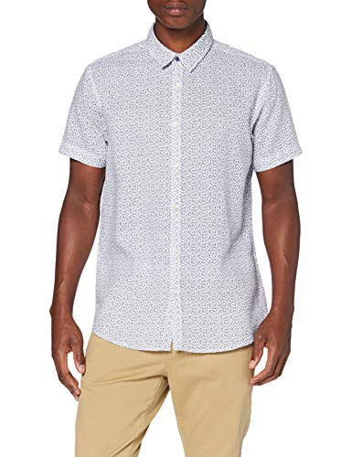 Springfield Linen Short Print Franq-C/99 Camisa Casual, Blanco (White 99), Large (Tamaño del fabricante: L) para Hombre