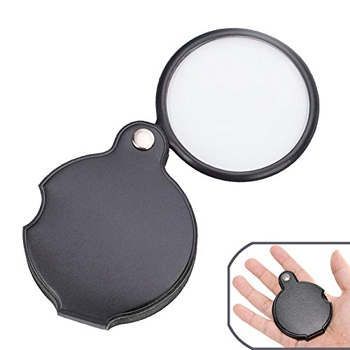 Pocket Magnifying Glass, Folding Magnifier Loupe with Protective Case for Reading, Inspection