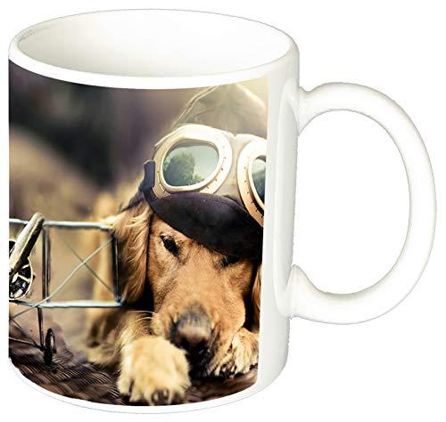 MasTazas Golden Retriever Aviador Golden Retriever Aviator Tasse Mug
