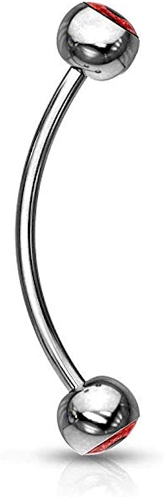 316L Surgical Steel Curved Barbell with Eyeball Inlaid Ball Ends for Snake Eye Piercing and More