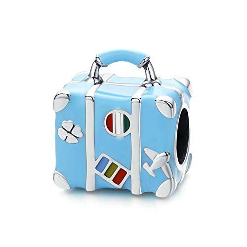 Bead Blue Enamel Travel Bag Charm 925 Sterling Silver Suitcase Charm Dangle Women DIY Bracelet/Bangles Charm
