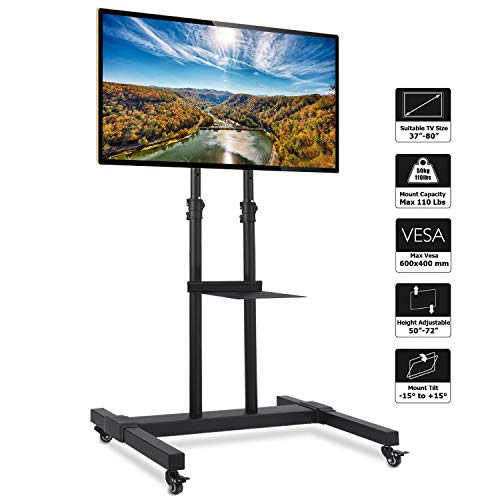 Rfiver Mobile TV Stand Rolling TV Cart with Tilt Mount and Locking Wheels for Most 37'-80' LCD LED...