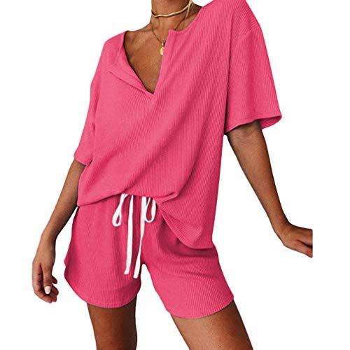 Hongxin Damen Kurzpyjama Set Anker Print Kurzarm T-Shirt Kurzhose PJ Set 2 Stück Schlafanzug Loungewear Nachtwäsche Nachtwäsche