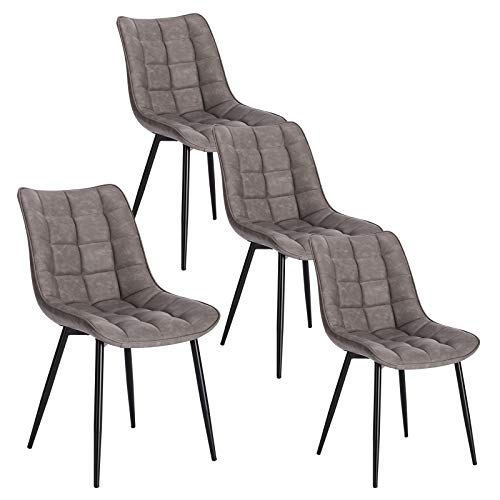 WOLTU 4 x Esszimmerstühle 4er Set Esszimmerstuhl Küchenstuhl Polsterstuhl Design Stuhl mit Rückenlehne, mit Sitzfläche aus Kunstleder, Gestell aus Metall, Dunkelgrau, BH207dgr-4