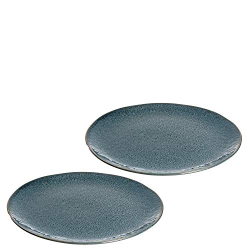 Leonardo Matera Keramik-Teller 2-er Set, spülmaschinengeeignete Speise-Teller, Essteller mit Glasur, 2 runde Steingut-Teller, Ø 27 cm blau, 026995