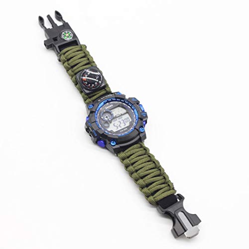 Survival Bracelet Watch New 2019, Men & Women Emergency Survival Watch with Paracord/Whistle/Fire Starter/Scraper/Compass and Thermometer, 6 in 1 Multifunctional Outdoor Gear (Military Green)