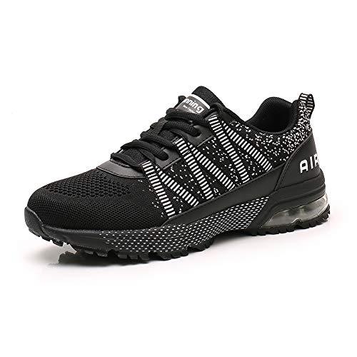 Sumateng Scarpe da Corsa Uomo Donna Scarpe da Ginnastica Sportive Walking Jogging Athletic Fitness Outdoor Sneakers Black42