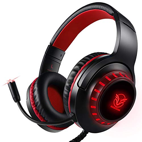 Casque Audio Casque de Gaming PS4, Casque Gamer LED Lampe(Bleu) avec Microphone Anti-Bruit pour PC, Mac, Playstation 4, Xbox One (Noir Rouge)