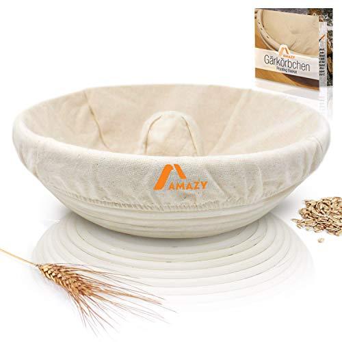 Amazy cesta de fermentación, incluyendo un folleto con recetas y consejos de uso - Cesta fermentación de pan en palma natural (Anillo| Ø 30 cm) - incluye una tela de lino