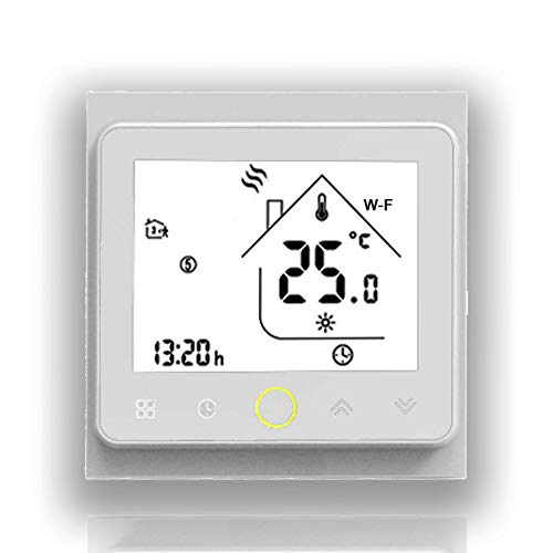 BECA 002 Serie 3/16A Pantalla táctil LCD Agua/Calefacción eléctrica/Caldera Termostato de control de programación inteligente con conexión WIFI (Calentador de Calderas, Blanco completo)
