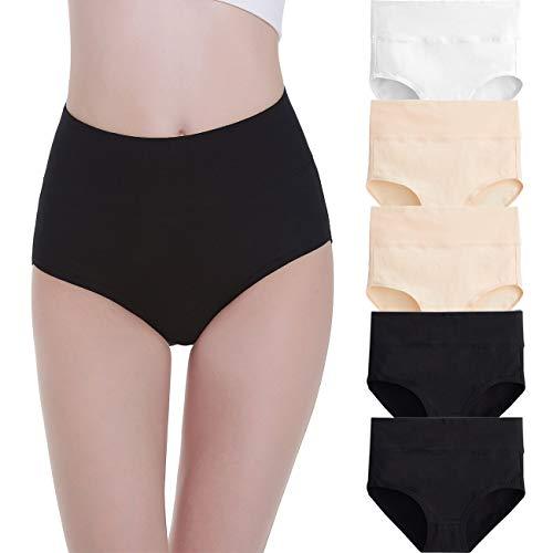 FALARY Bragas Algodón Mujer Cintura Alta Pack de 5 Negro Beige Blanco XL