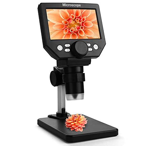 LCD Digital USB Microscope,Micsci 4.3 inch Screen 1000X Magnification Electronic Handheld Camera Video Recorder,Adjustable Stand,Rechargeable Battery,8 LED Light for Coins PCB Soldering Repair Plants
