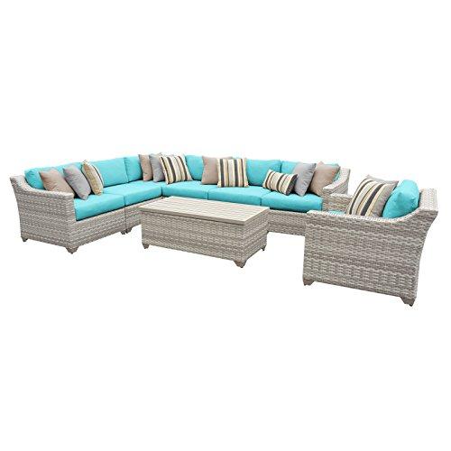 TK Classics FAIRMONT-08d-ARUBA 8 Piece Outdoor Wicker Patio Furniture Set, Aruba