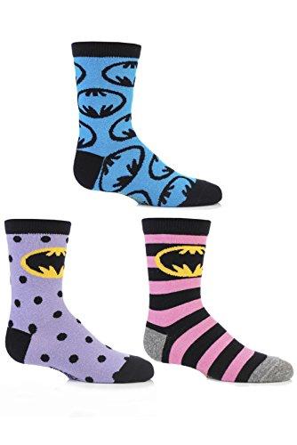 SockShop Mädchen 3 Paar Batman-Streifen-Spots & in der ganzen Motivsocken aus Baumwolle von 12,5 bis 5,5 Kinder One Size Multi