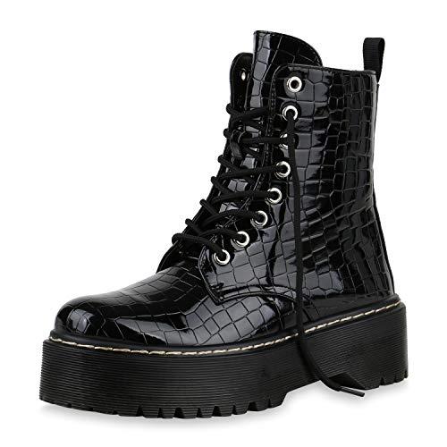 SCARPE VITA Dames Laarzen Plateau Laarzen Zool Laarzen Boots-Met-Veters Lederlook Schoenen Veters En