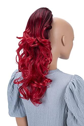 PRETTYSHOP 40cm Haarteil Zopf Pferdeschwanz Haarverlängerung Voluminös Gewellt Ombré Rot Mix H145